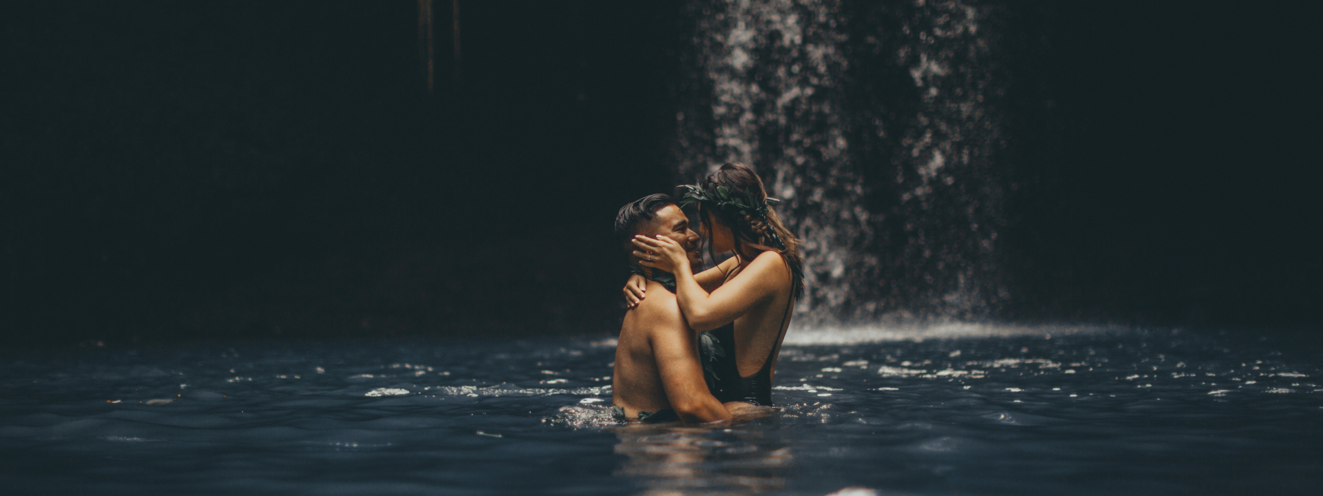 beautiful waterfall engagement photography in maui, hawaii.