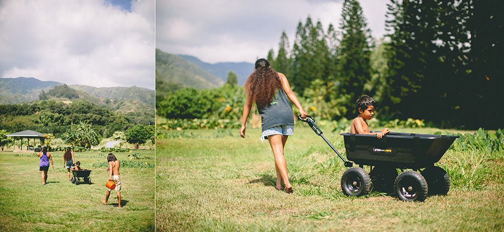 Kehau and her family working on the taro patch. photographed for tropical moms, a series on Maui motherhood.