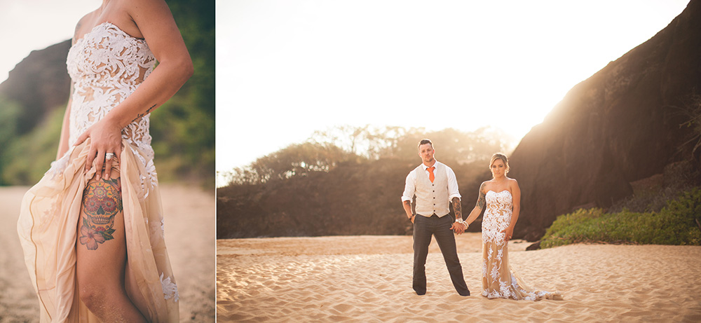 a beautiful post-wedding photography session at Makena Beach in Wailea, Maui.