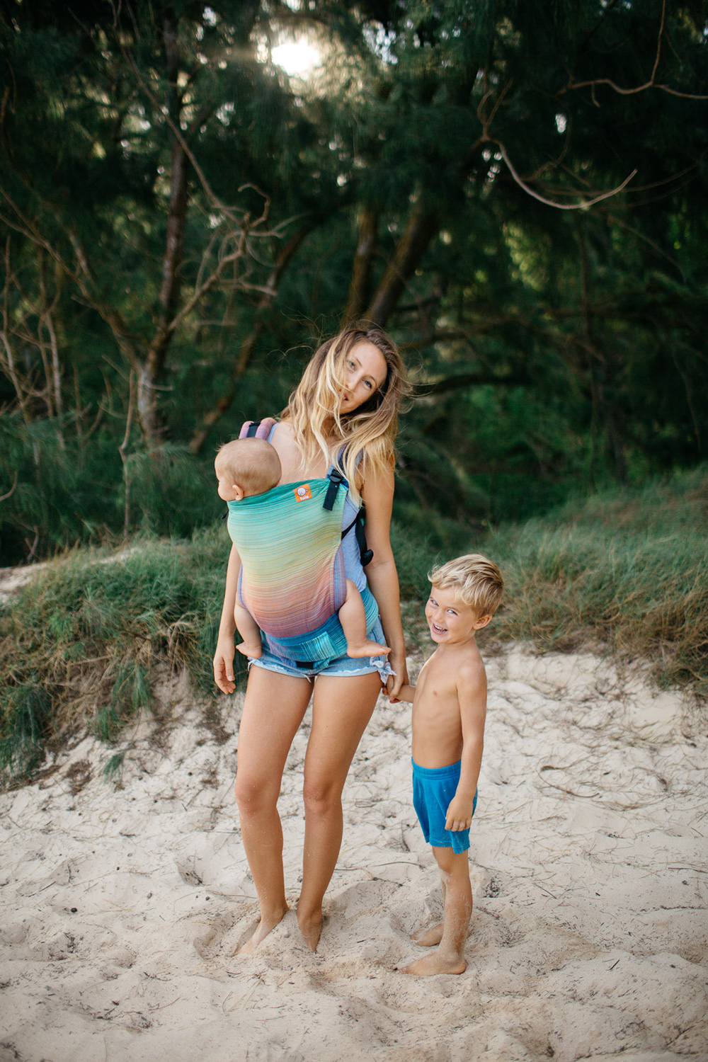 ellen fisher of mango island mamma plays at baby beach in paia.