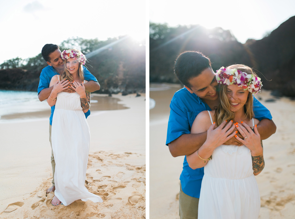 maui engagement photographer cadencia, takes photos of rebekah and richard sunset in wailea.