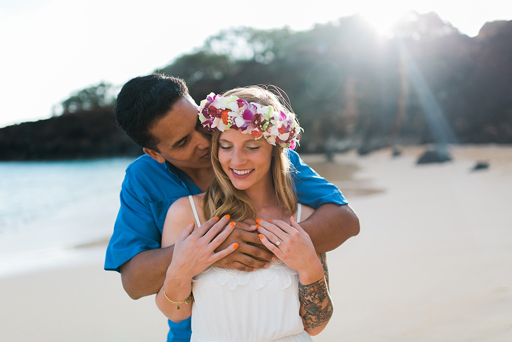 beautiful flower crown haku for bekah and richard's maui engagement photography.