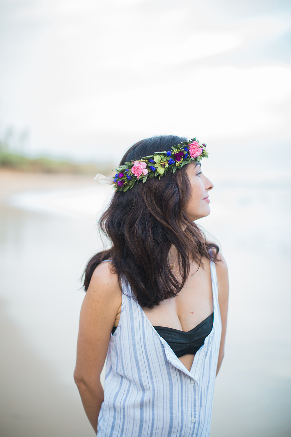 beautiful flower crown and haku during a family photo shoot in paia.