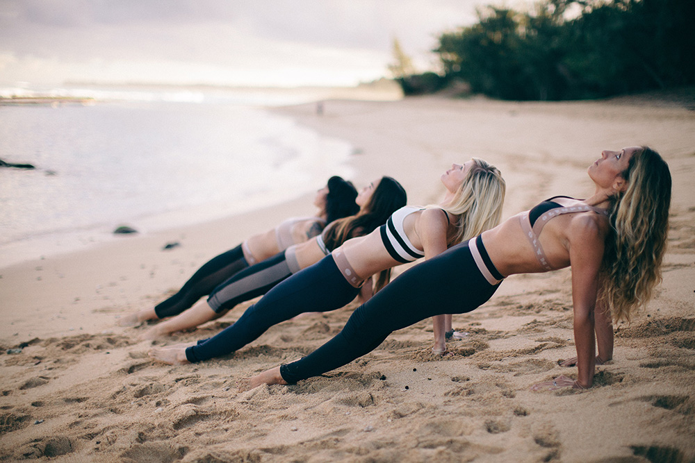 baldwin beach with maui barre instructors.