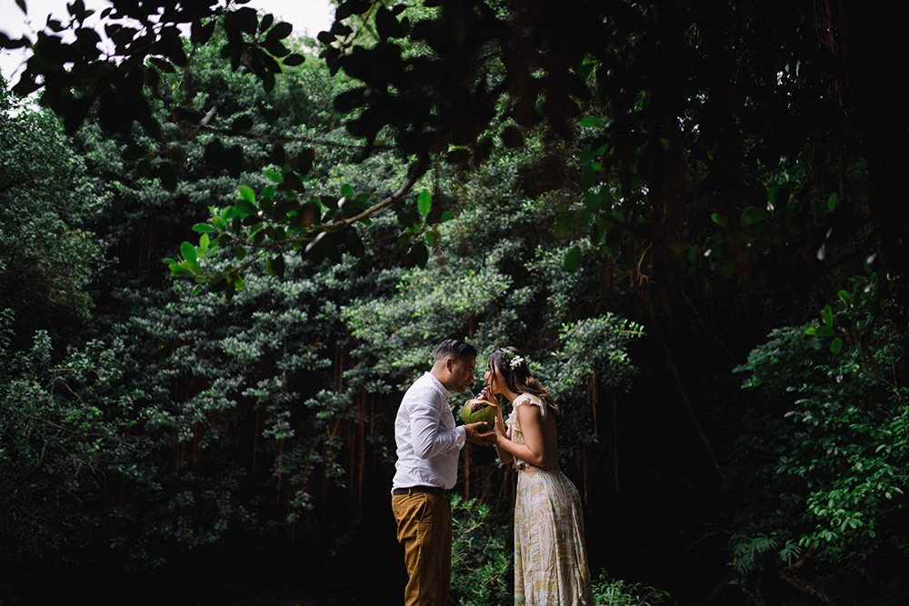 waterfall jungle photography session for engagement photos in Maui, Hawaii.