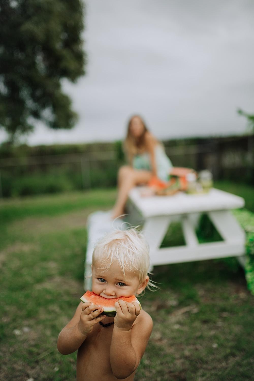 backyard maui picnic with vegan family