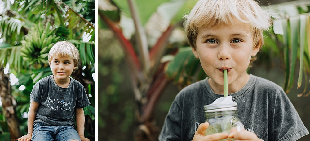 family and children's photographer on Maui, cadencia photography captures ellen fisher and her vegan family.