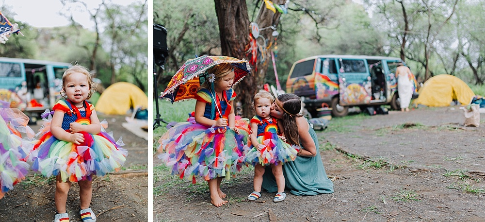 family photographer cadencia photography captures gypsy halo hippie wedding in maui, hawaii.