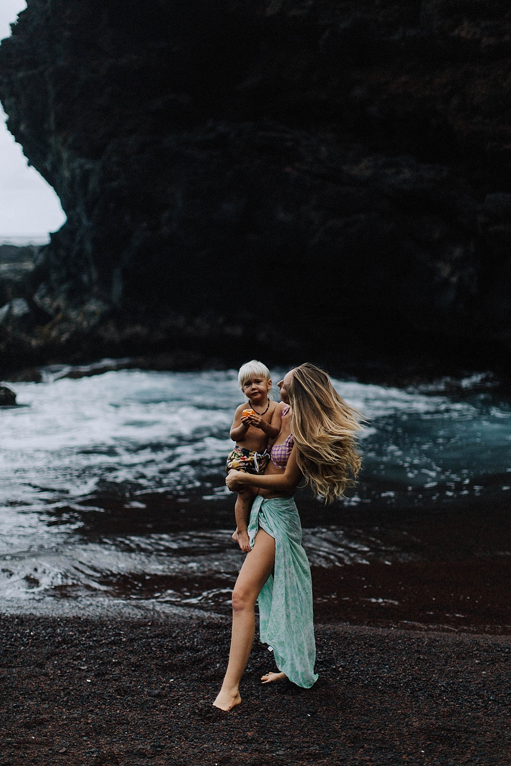 ellen fisher in hana, maui in hawaii with her vegan family during their photography session.