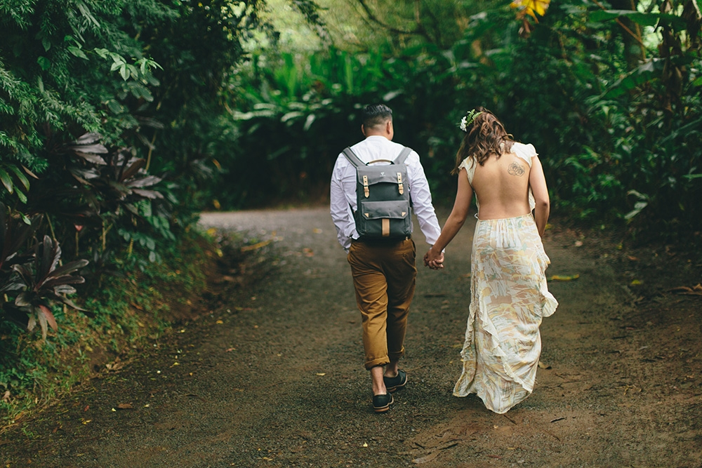 Creative and artistic engagement photography in the jungles of Maui, Hawaii.
