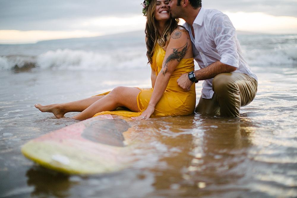 surfer engagement photos maui