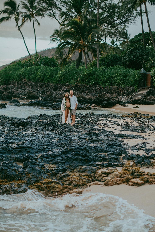 Paako or makena cove for maternity photos on Maui.