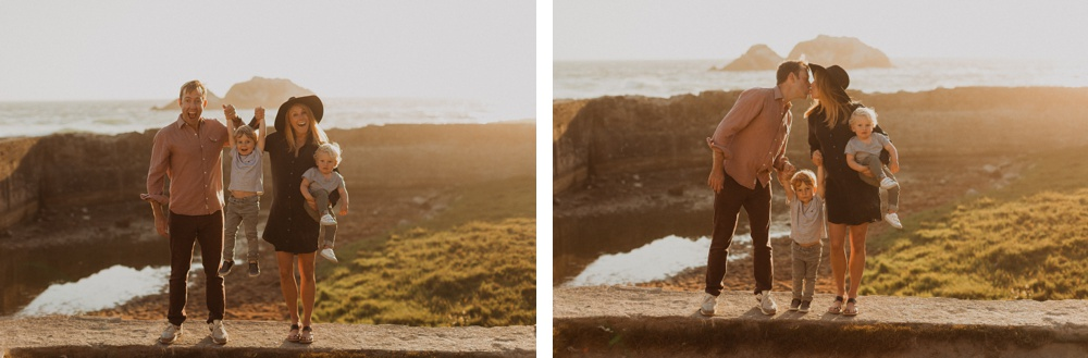 cute sunset photo session with a family at sunset at sutro baths