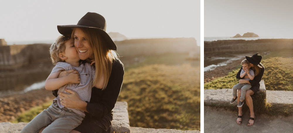 mother and son during family photos at sutro baths in san francisco