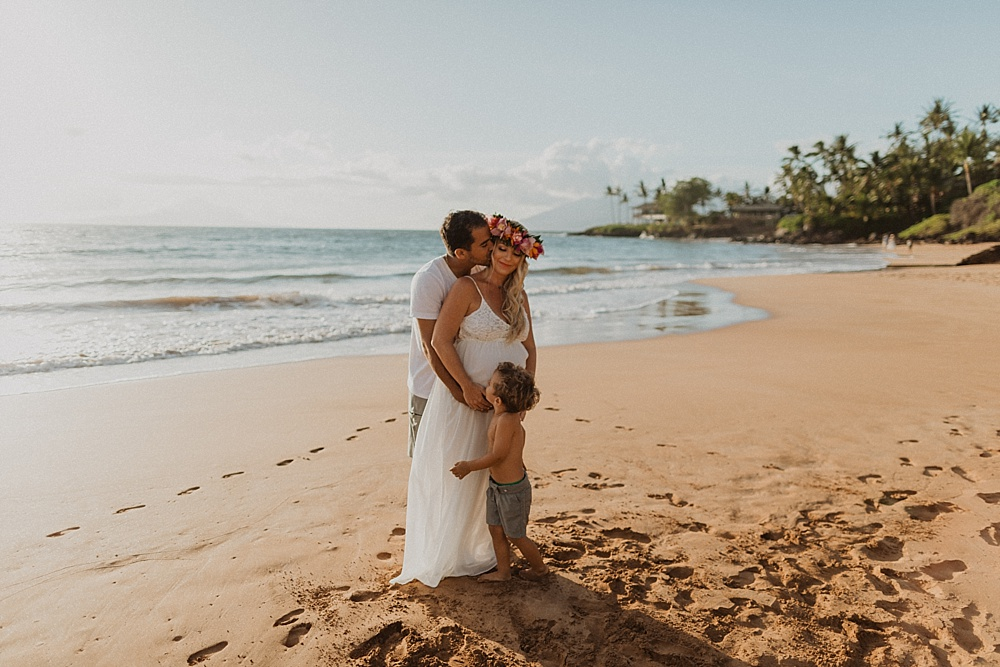 malia and junior's maternity and family sunset beach photos