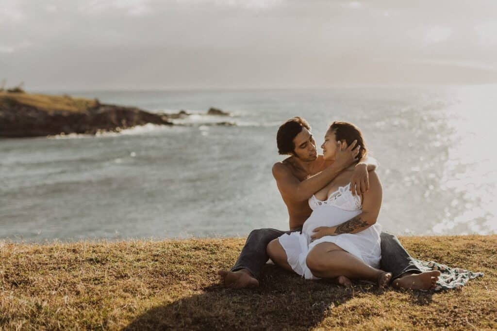 couple during paia maternity photos on maui