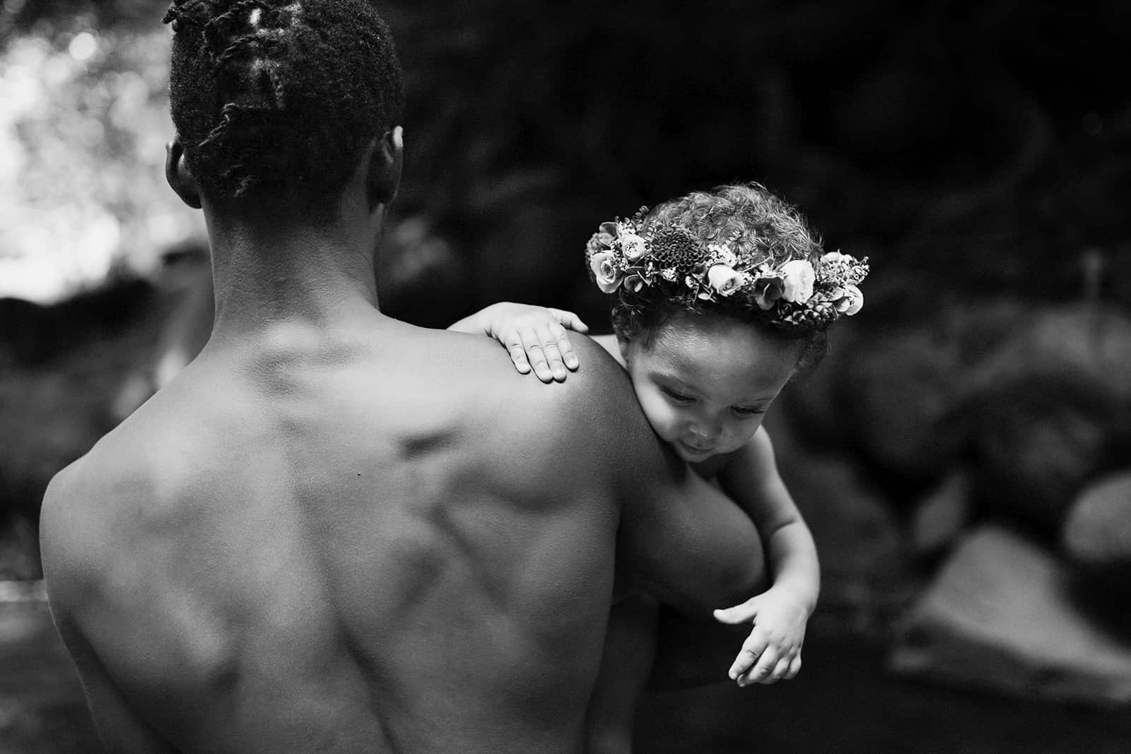 father and daughter during a family photo shoot in maui